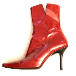 Balenciaga patent leather mid-ankle boots